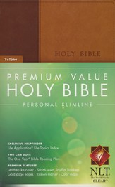 NLT Premium Value Personal-size Slimline Bible, TuTone Leatherlike brown/tan