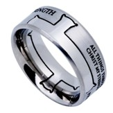 His Strength Iron Cross Men's Ring Silver, Size 10 (Philippians 4:13)