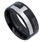 His Strength, Iron Cross Ring Black, Size 10