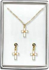 Mustard Seed Cross Necklace and Earrings Set