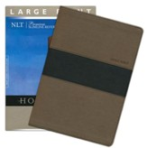 NLT Premium Slimline Reference Large Print, TuTone Leatherlike Taupe/Black - Slightly Imperfect