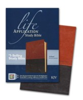 KJV Life Application Study Bible, TuTone Leatherlike Brown/Tan - Slightly Imperfect