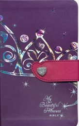 NLT My Beautiful Princess Bible, TuTone Leatherlike Purple Crown/Pink with Heart magnetic closure - Imperfectly Imprinted Bibles
