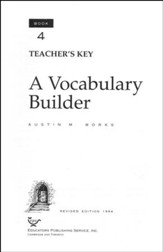 Answer Key for A Vocabulary Builder, Book 4, Grade 9