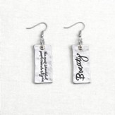 Beauty, Message Earrings, Silver