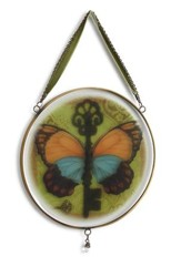 Butterfly Key Glass Window Art