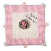 Jesus Loves Me Lovie Blanket, Pink and Brown