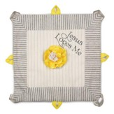 Jesus Loves Me Lovie Blanket, Gray and Yellow