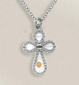 Mustard Seed Cross Necklace, Silver