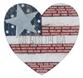 God Bless the USA Heart Plaque