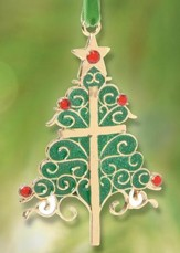 Christmas Tree with Cross Ornament