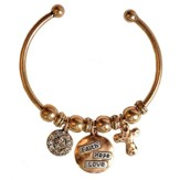 Faith Hope Love Cuff Bracelet, Gold