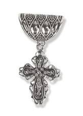 Antique Silver Scarf Slide, with Filigree Cross