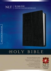 NLT Slimline Center Column Reference Bible, Black Bonded Leather - Slightly Imperfect