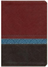 KJV Life Application Study Bible Large Print Imitation Leather, brown/tan/heather blue Indexed - Imperfectly Imprinted Bibles