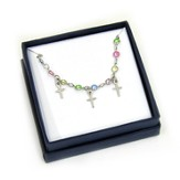 Cross Charm and Crystal Bracelet