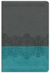 NLT Life Application Study Bible, Personal Size TuTone Imitation Leather, juniper/gray lace - Slightly Imperfect