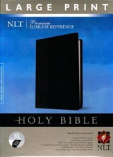 NLT Premium Slimline Large-Print Reference Bible--soft leather-look, black/onyx (indexed)