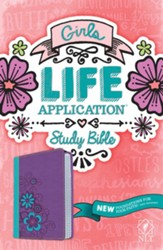 NLT Girls Life Application Study Bible, TuTone, LeatherLike, Purple/Teal Flower