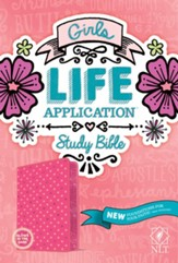 NLT Girls Life Application Bible, Pink Glow Leatherlike