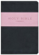 NLT Holy Bible, Giant Print TuTone Imitation Leather, pink/brown Indexed - Slightly Imperfect