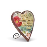 Beloved Mom Wood Carved Heart Plaque