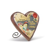 I Love You Wood Carved Heart Plaque