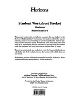 Horizons Mathematics Grade 6 Student worksheet packet