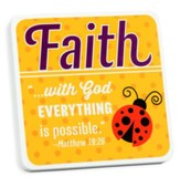 Faith, Ladybug Tabletop Plaque