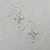 Hanging Cross Earrings, Silver