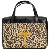 Leopard Bible Cover with Cross, Large