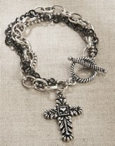 Cross With Heart Multi Chain Bracelet