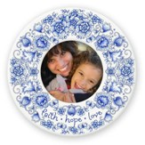 Faith, Hope, Love--Round Ceramic Photo Frame