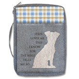 Jesus Loves Me, Puppy, Bible Cover, Blue