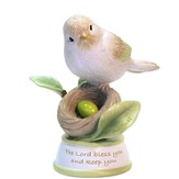 Birthstone Bird Figure, The Lord Bless and Keep You, August
