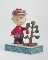 Peanuts Figurine, Charlie Brown With Christmas Tree