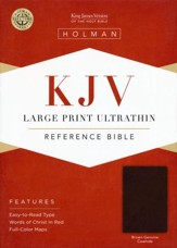 KJV Large Print UltraThin Reference Bible, Brown Genuine Cowhide