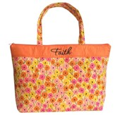 Faith Tote Bag, Orange and Pink