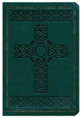 KJV Large Print Compact Reference Bible, Green  Imitation Leather with Cross Design