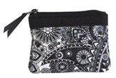 Cross Coin Purse, Black and White Paisley