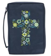 Bible Cover, Embroidered Cross, Navy, Large