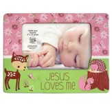 Jesus Loves Me Photo Frame, Fawn, Pink