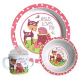 Jesus Loves Me Dish Set, Fawn, Pink