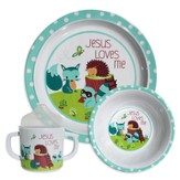 Jesus Loves Me Dish Set, Fox, Blue