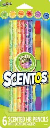 Scentos Scented Colored Pencils with Erasers, Pack of 6