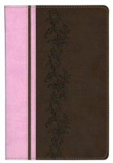 KJV Rainbow Study Bible, Pink and Brown LeatherTouch - Slightly Imperfect