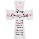 Jesus Loves Me Wall Cross, Pink