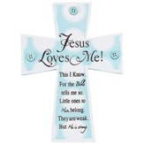 Jesus Loves Me Wall Cross, Blue