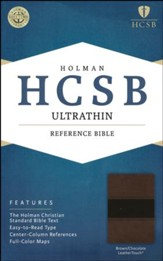 HCSB Ultrathin Reference Bible, Brown and Chocolate LeatherTouch