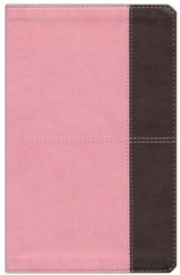 HCSB Ultrathin Reference Bible, Pink and Brown LeatherTouch, Thumb-Indexed - Imperfectly Imprinted Bibles